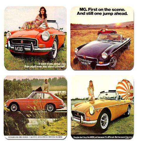 Vintage MGB Car Advert Classic Brochure Drinks Coasters Set Of 4. Quality Cork